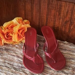Cato ladies maroon wedges
